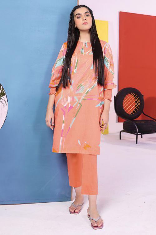 2 Pc Digital Cambric Shirt With Dyed Cambric Trouser