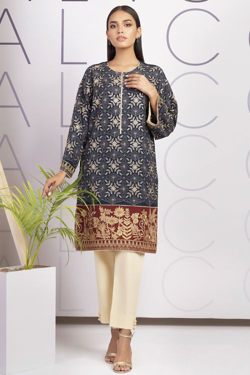 Dyed Embroidered Dobby Kurti
