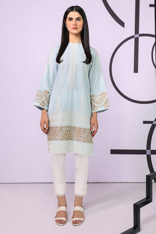 Dyed Embroidered Cambric Kurti