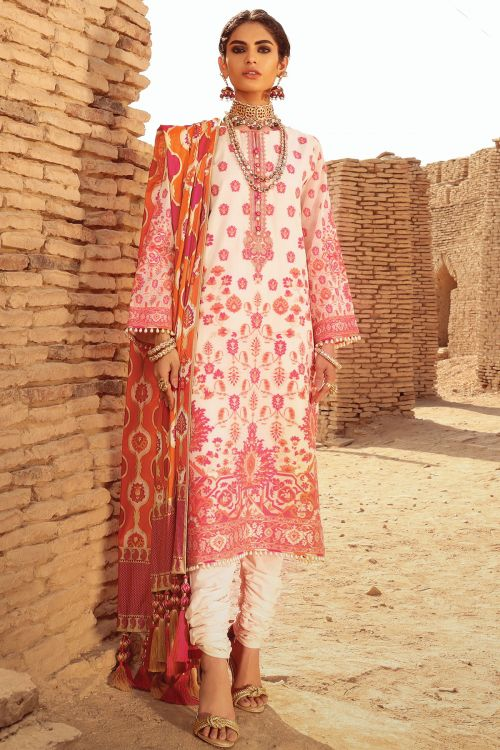 3 Pc Embroidered Suit With Cotton Silk Dupatta