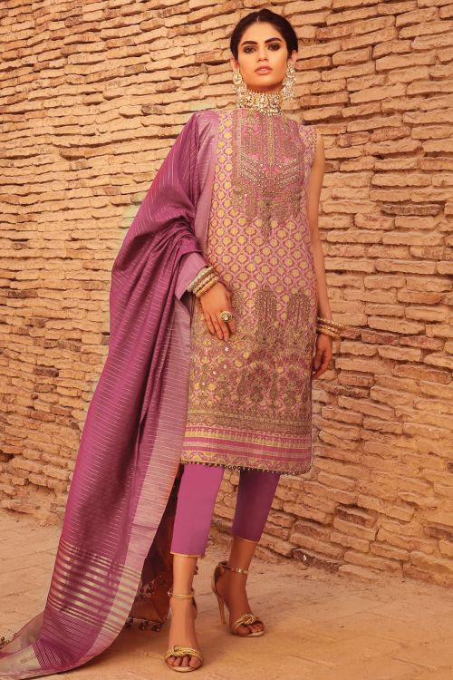 3 Pc Embroidered Suit With Jaqcuard Dupatta