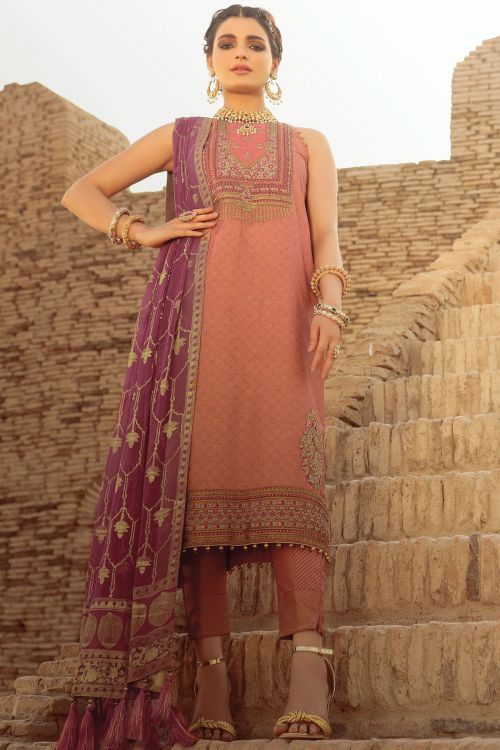 3 Pc Embroidered Suit With Chiffon Dupatta