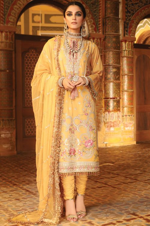 3 Pc Embroidered Suit With Poly Net Dupatta