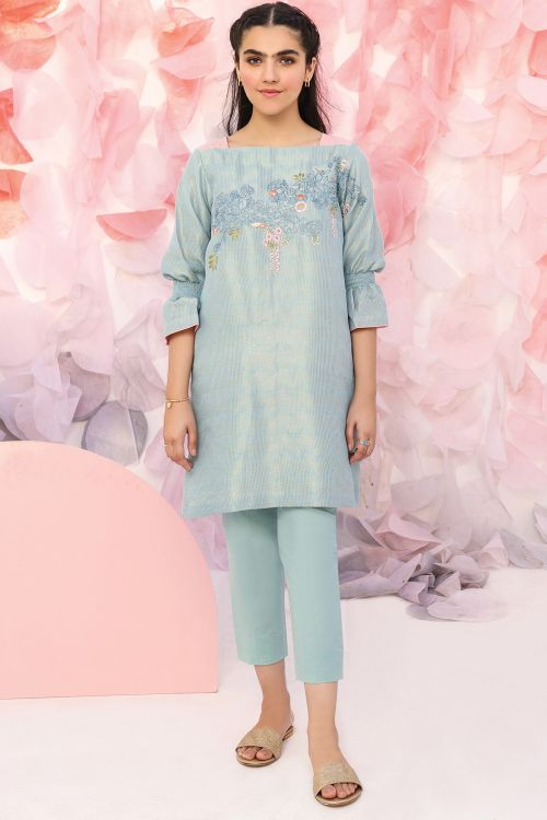 2 Pc Embroidered Jacquard Suit With Cambric Trousers