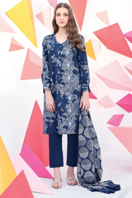 2 Pc Printed Cambric Suit With Lawn Dupatta