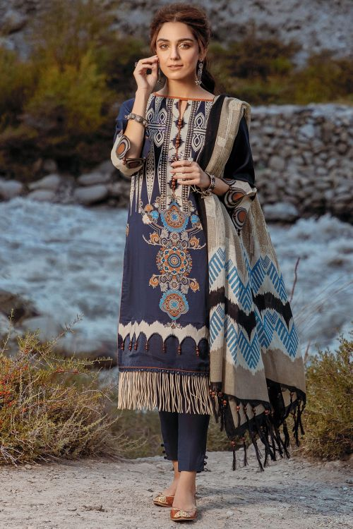 3 Pc Printed Khaddar Suit With Shawl