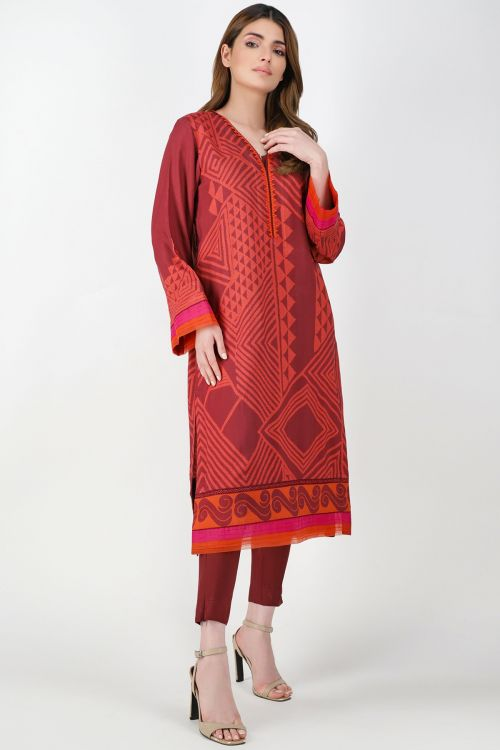 2 Pc Printed Viscose Suit With Viscose Trouser