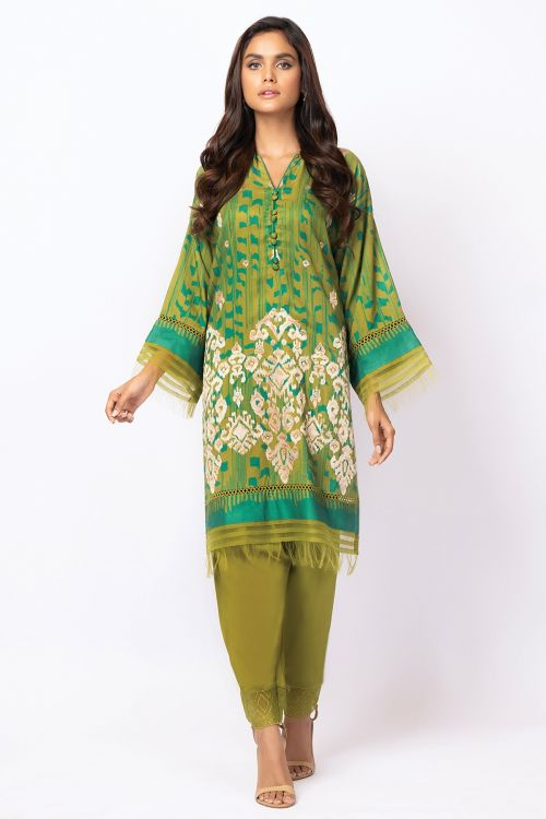 2 Pc Embroidered Cotail Viscose Suit With Viscose Trouser