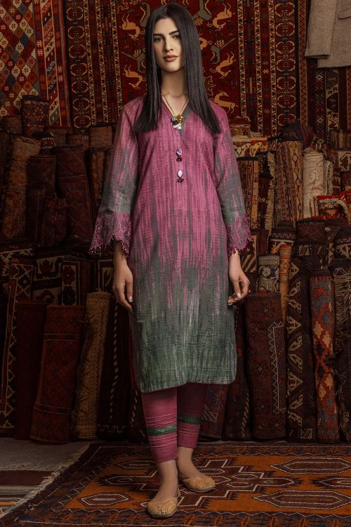 2 Pc Embroidered Khaddar Suit With Khaddar Trouser