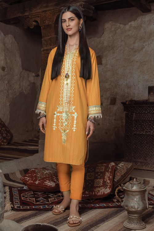2 Pc Embroidered Yarn Dyed Suit With Khaddar Trouser