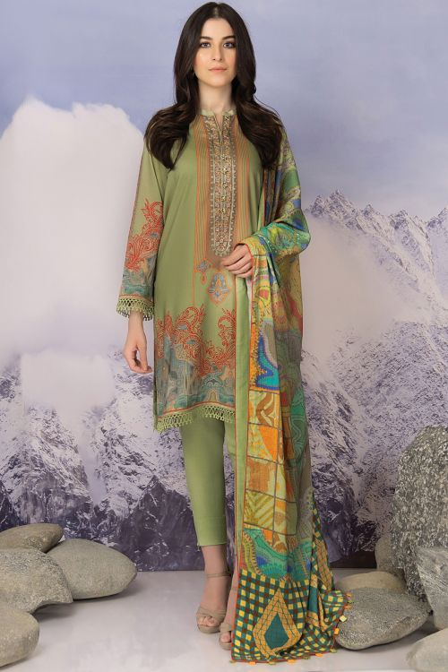 2 Pc Embroidered Viscose Suit With Viscose Dupatta