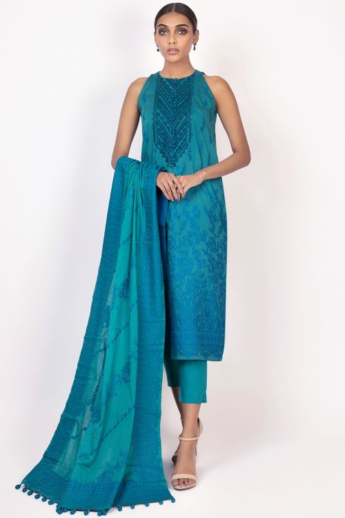 3 Pc Embroidered Jacquard Suit With Jacquard Dupatta