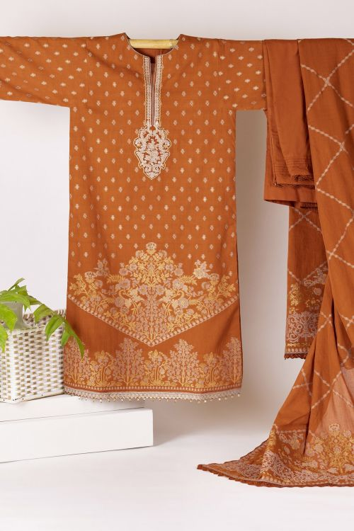 Three Piece Jacquard Embroidered Suit With Jacquard Dupatta