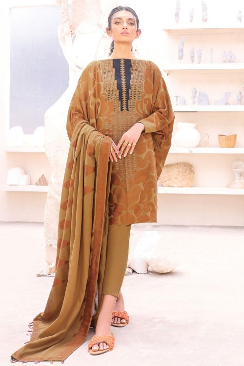 3 Pc Embroidered Suit With Jacquard Dupatta