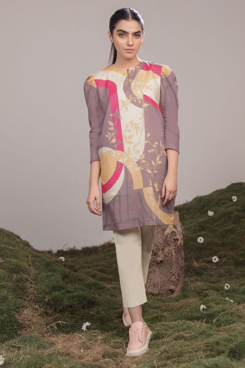 2 Pc Printed Cambric Suit With Dyed Cambric Trouser