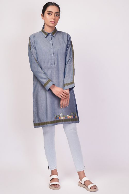 Dyed Embroidered Kurti