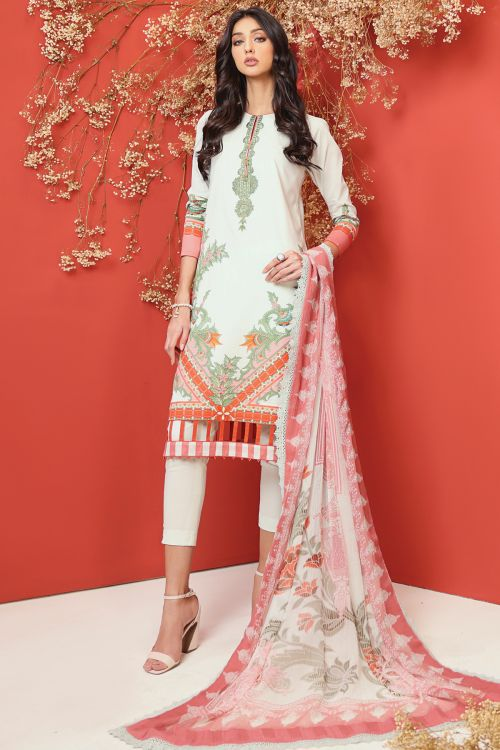 3 Pc Embroidered Cambric Suit With Chiffon Dupatta