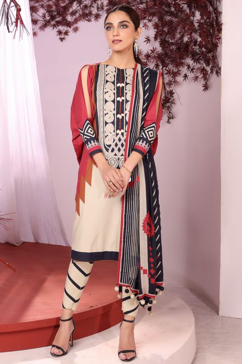 3 Pc Printed Cambric Suit With Cotton Net Dupatta