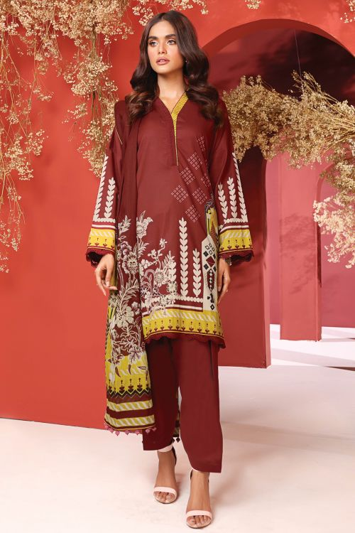 2 Pc Printed Cambric Suit With Cotton Net Dupatta