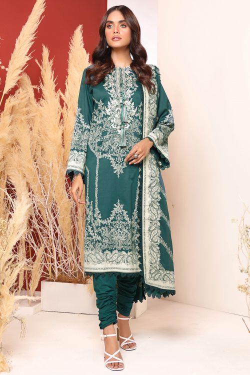 2 Pc Embroidered Cambric Suit With Lawn Dupatta