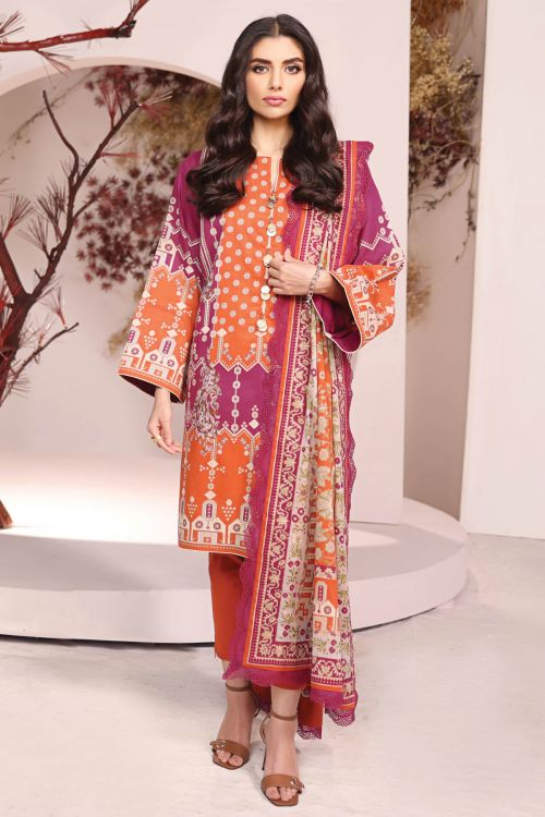 3 Pc Printed Cambric Suit With Lawn Dupatta