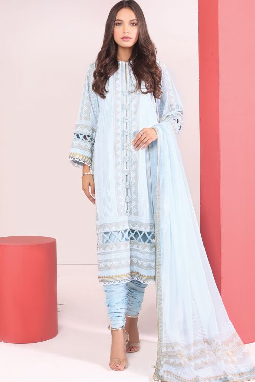 3 Pc Printed Cambric Suit With Chiffon Dupatta