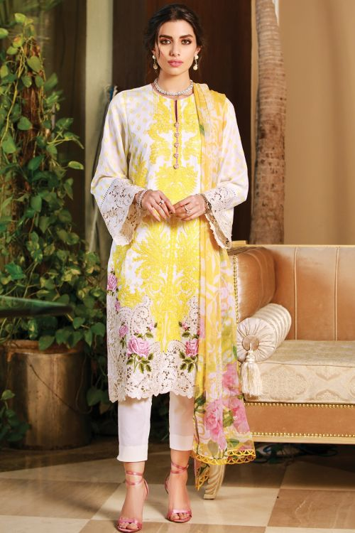 3 Pc Embroidered Cotton Satin Suit With Chiffon Dupatta