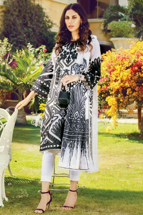 3 Pc Embroidered Cotton Net Suit With Broshia Dupatta