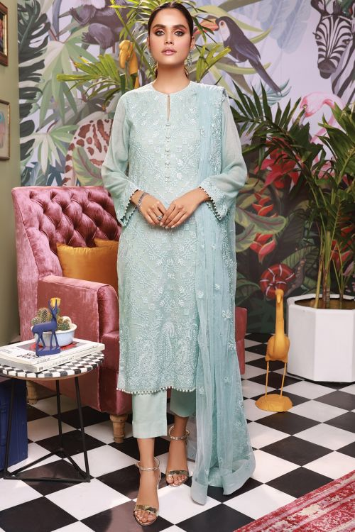 3 Pc Embroidered Suit With Embroidered Poly Net Dupatta