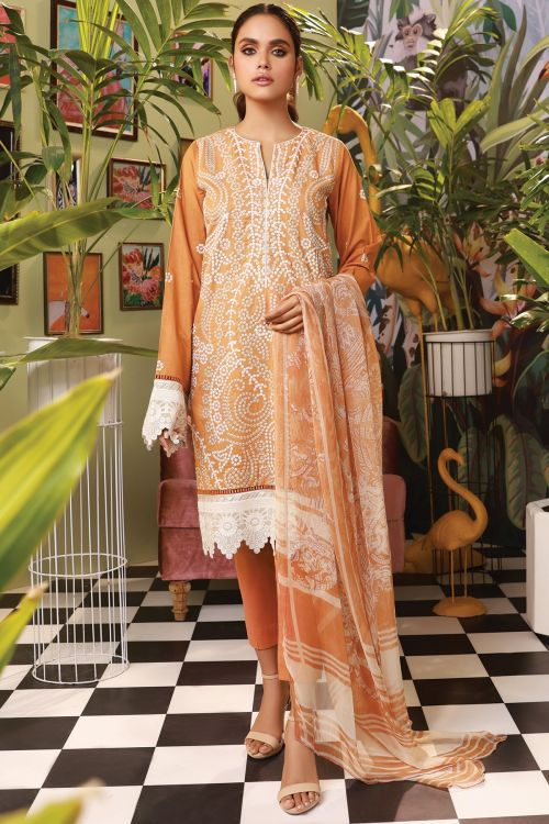 3 Pc Embroidered Suit With Silk Dupatta