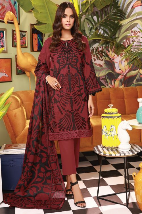 3 Pc Embroidered Suit With Jacquard Net Dupatta
