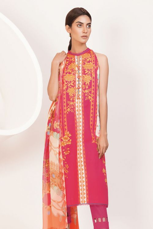 3 Pc Printed Lawn Suit With Chiffon Dupatta