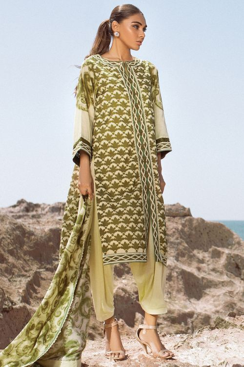 3 Pc Printed Lawn Suit With Brochia Dupatta