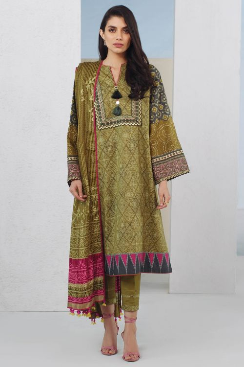 3 Pc Embroidered Lawn Suit With Printed Brochia Lawn Dupatta