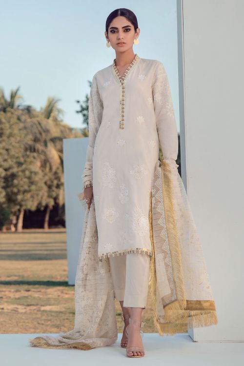 3 Pc Embroidered Lawn Suit With Embroidered Net Dupatta