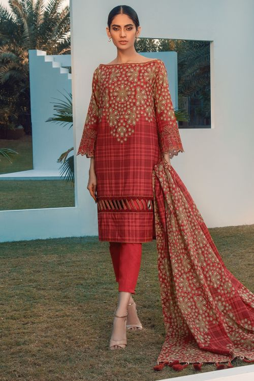 3 Pc Embroidered Lawn Suit With Printed Lawn Dupatta