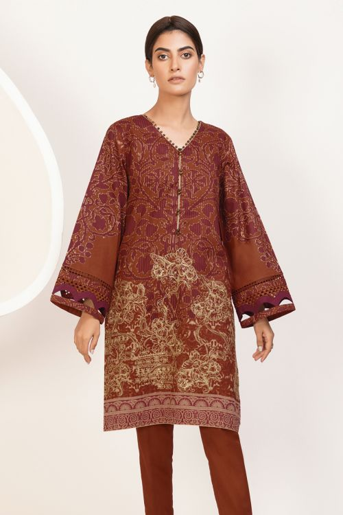 2 Pc Embroidered Lawn Suit With Cambric Trouser