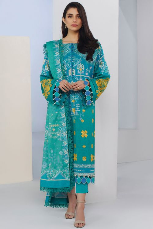 3 Pc Embroidered Lawn Suit With Printed Jacquard Dupatta