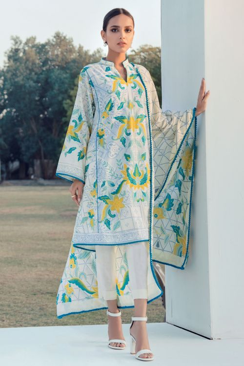 3 Pc Printed Lawn Suit With Printed Lawn Dupatta