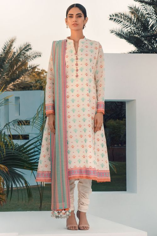 3 Pc Jacquard Suit With Yarn Dyed Dupatta