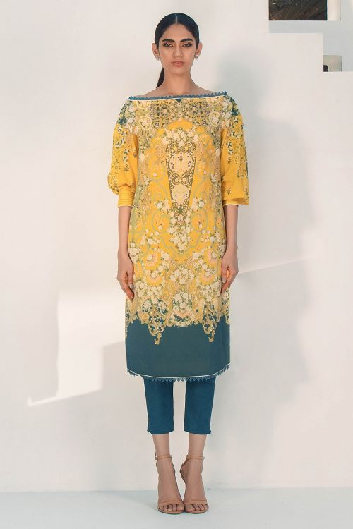 2 Pc Digital Lawn Suit With Dyed Cambric Trouser