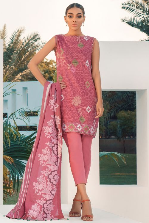 2 Pc Printed Lawn Suit With Printed Lawn Dupatta