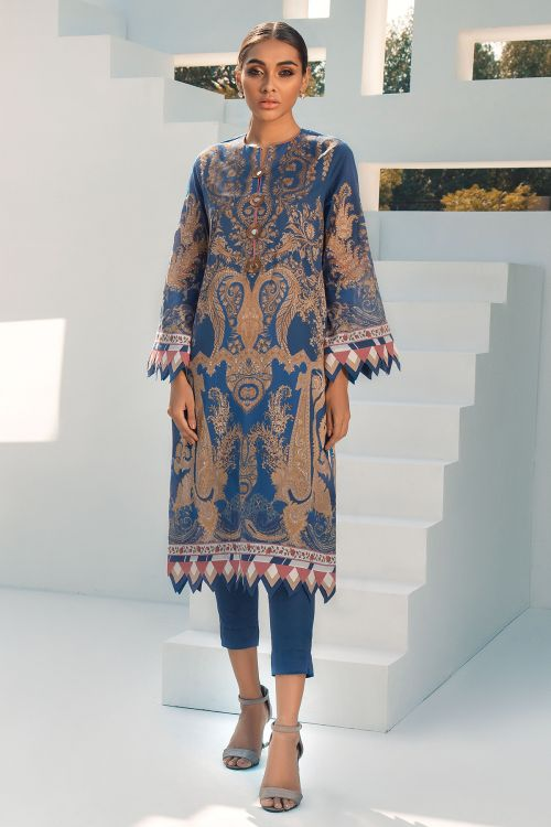 2 Pc Digital Printed Lawn Suit With Dyed Cambric Trousers
