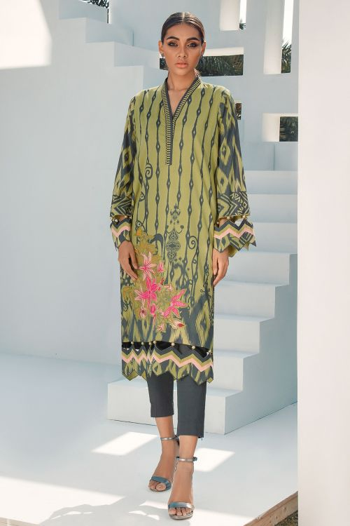 2 Pc Embroidered Lawn Suit With Dyed Cambric Trousers