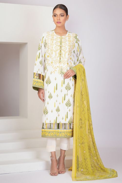 3 Pc Embroidered Lawn Suit With Digital Chiffon Dupatta