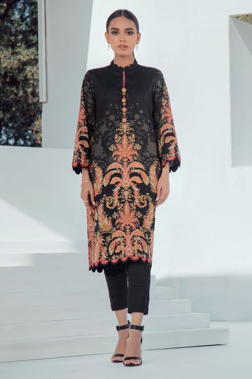 2 Pc Printed Lawn Shirt With Dyed Cambric Trousers