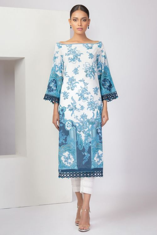 2 Pc Printed Lawn Shirt With Printed Cambric Trousers