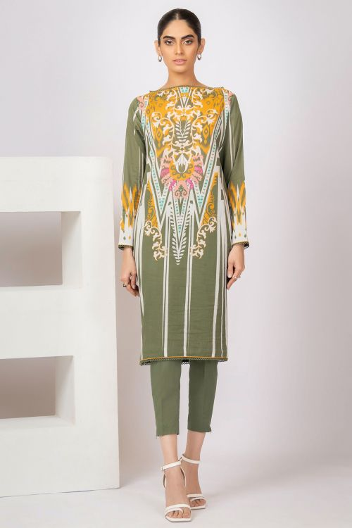 2 Pc Printed Lawn Suit With Dyed Cambric Trousers
