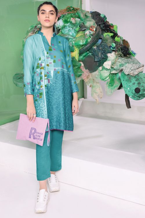 2 Pc Printed Twill Linen Suit With Dyed Twill Linen Trouser