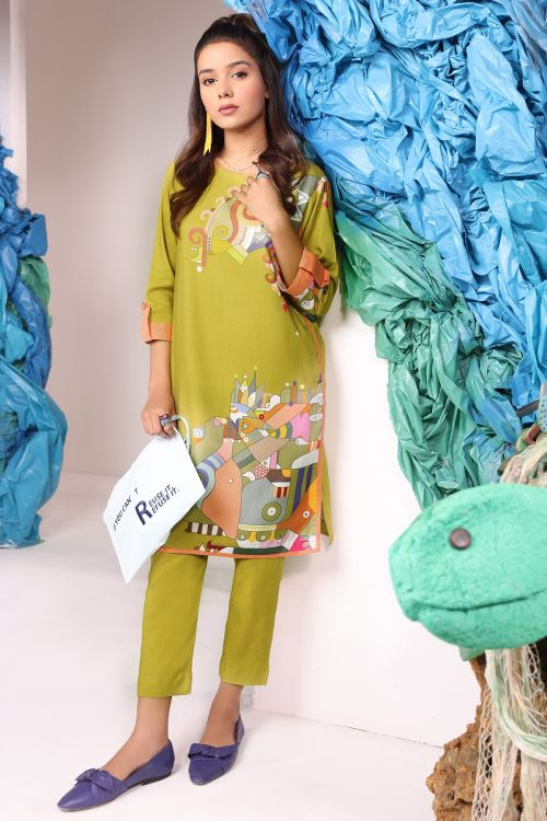 2 Pc Digital Viscose Suit With Dyed Viscose Trouser